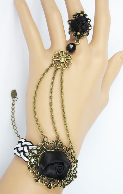 Pleasures Bracelet with Ring Black Rf80873