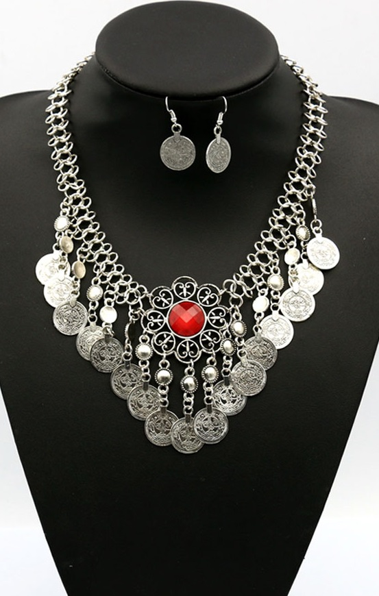 Pleasures Coin Necklace with Earrings Red