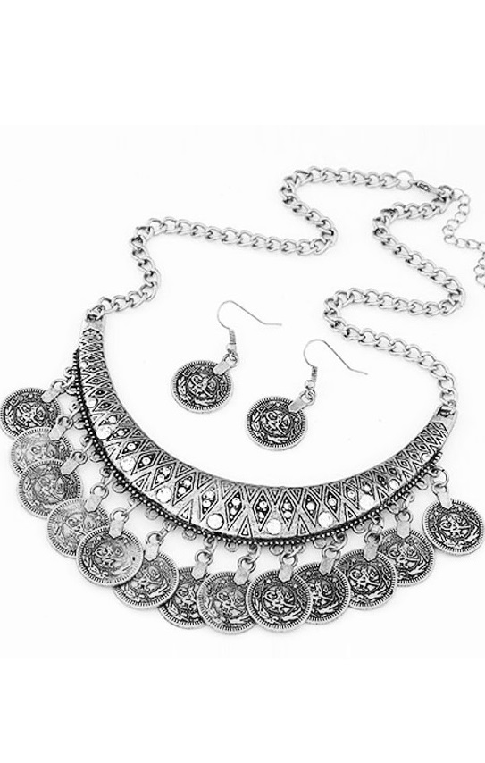 Colar e brincos Pleasures Coin Necklace with Earrings silver
