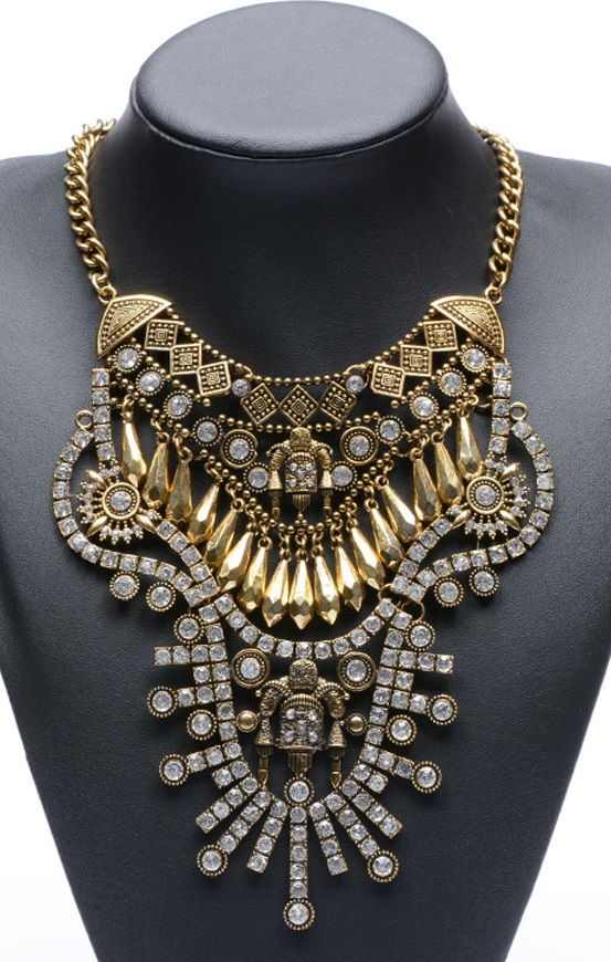 Pleasures Rhinestone Necklace Gold