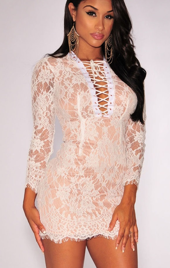 Pleasures Nude Illusion Dress White Rf822363