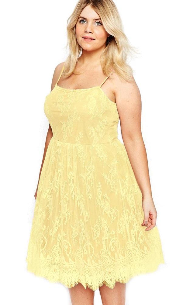 Pleasures Lace Dress Yellow