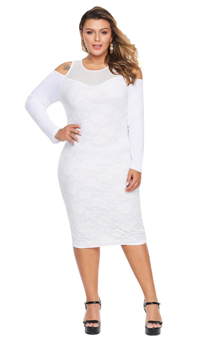 Pleasures Dress Plus Size White RF8611216 (Roupa - Vestidos