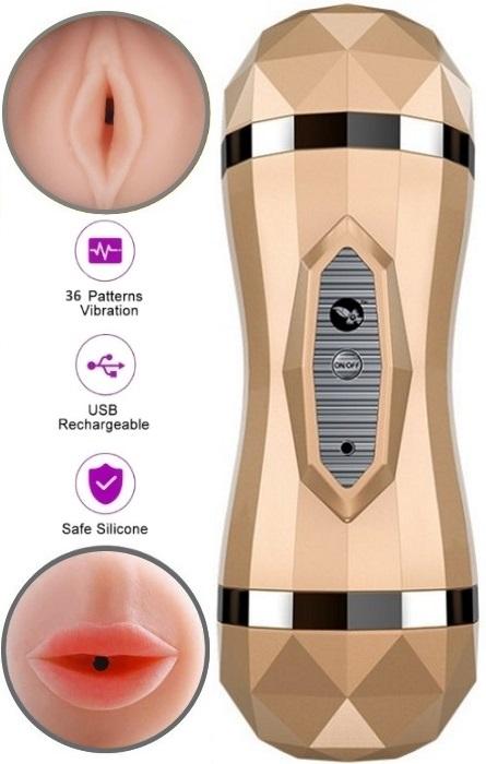 Vibrador Duplo Masturbabor Vaginal e Oral RF04108