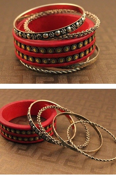 Rivet Bangle Pack Red