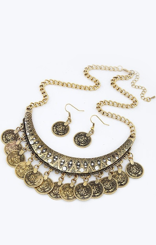 Colar e brincos Pleasures Coin Necklace with Earrings Gold