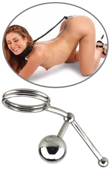 Anel Cock Intruso Bloqueador com Bola Vaginal e Anal  RF03374