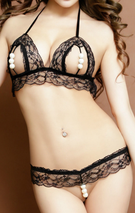 Passion Halter Pearl G-string And Bra