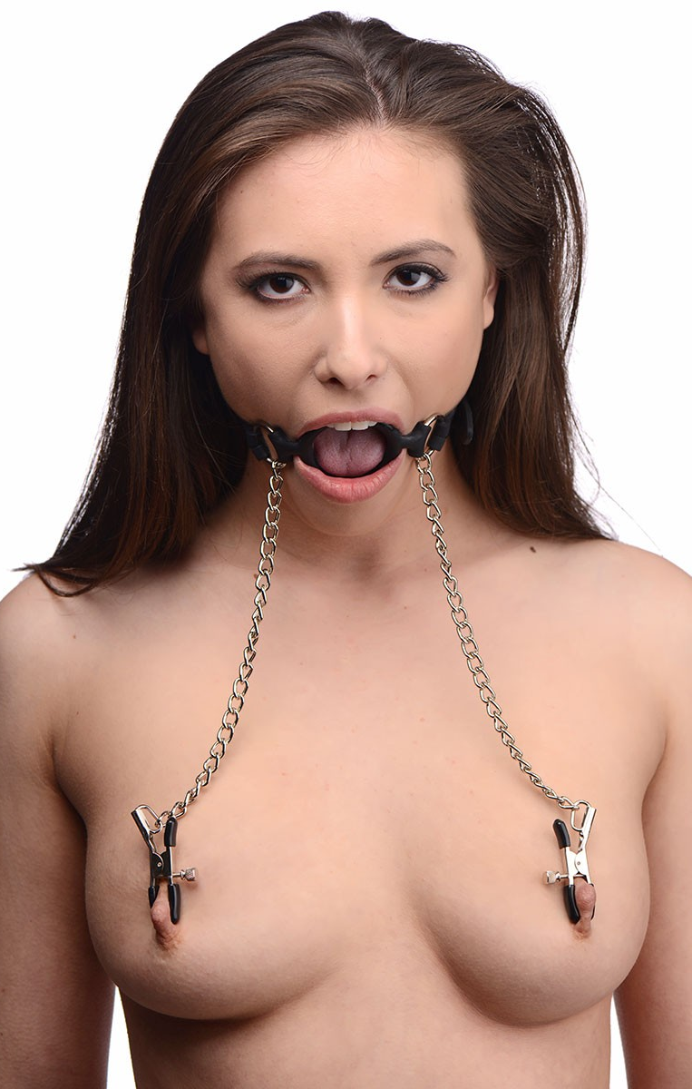 Ring Gag with Nipple Clamps