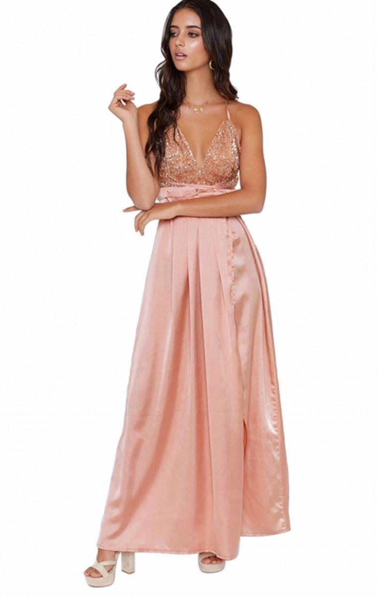 Pleasures Maxi Party Dress Apricot